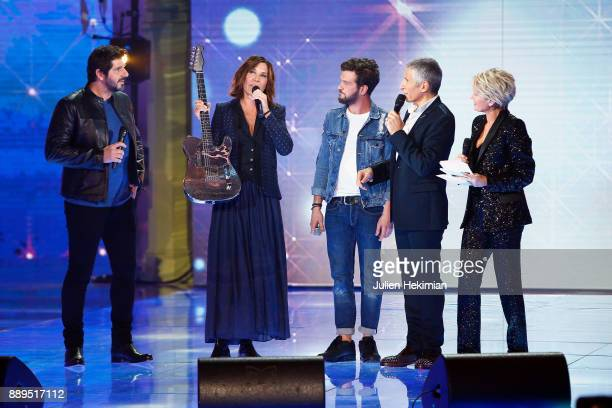 Patrick Fiori Zazie Claudio Capeo Nagui and Sophie Davant perform on stage during the 31st France Television Telethon at Pavillon Baltard on December...