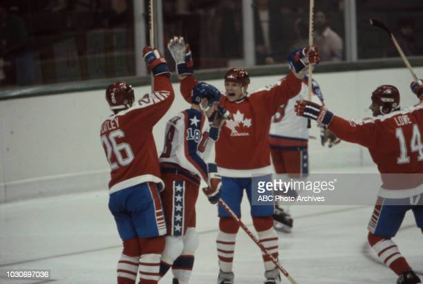 Patrick Flatley Al Iafrate Carey Wilson Darren Lowe United States team vs Canadian team competing in the Men's ice hockey tournament at the 1984...