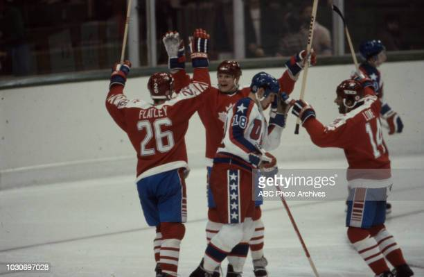 Patrick Flatley Carey Wilson Al Iafrate Darren Lowe United States team vs Canadian team competing in the Men's ice hockey tournament at the 1984...