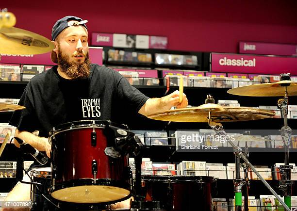 Patrick Foley of As It Is performs live and signs copies of their debut album 'Never Happy Ever After' at HMV on April 24 2015 in Manchester England