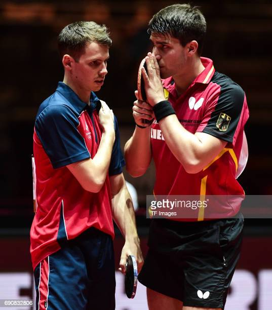 Patrick Franziska of Germany , Jonathan Groth of Denmark looks on during the Table Tennis World Championship at Messe Duesseldorf on May 30, 2017 in...