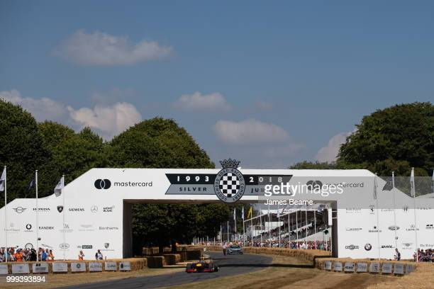Patrick Friesacher of Austria drives the Red Bull Racing RB8 during the Goodwood Festival of Speed at Goodwood on July 14 2018 in Chichester England