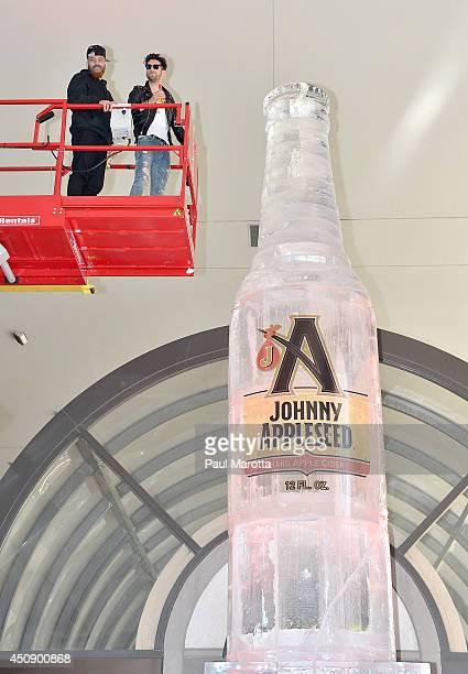 Patrick Gemayel and David Macklovitch of Chromeo attend Johnny Appleseed Hard Apple Cider's celebration to kick off the summer season at the Seaport...