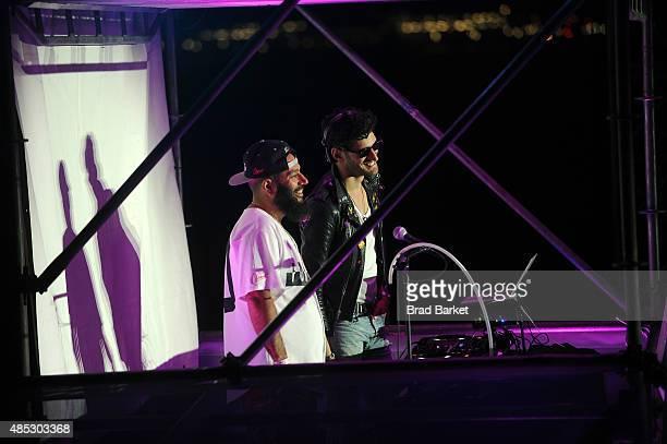 Patrick Gemayel and David Macklovitch of Chromeo spin at Rally On The River presented by American Express featuring Maria Sharapova John Isner Monica...