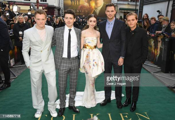 Patrick Gibson Anthony Boyle Lily Collins Nicholas Hoult and Tom GlynnCarney attend the Tolkien UK premiere at The Curzon Mayfair on April 29 2019 in...