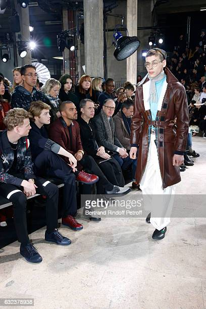 Patrick Gibson Joe Alwyn and Jesse Williams attend the Lanvin Menswear Fall/Winter 20172018 show as part of Paris Fashion Week on January 22 2017 in...
