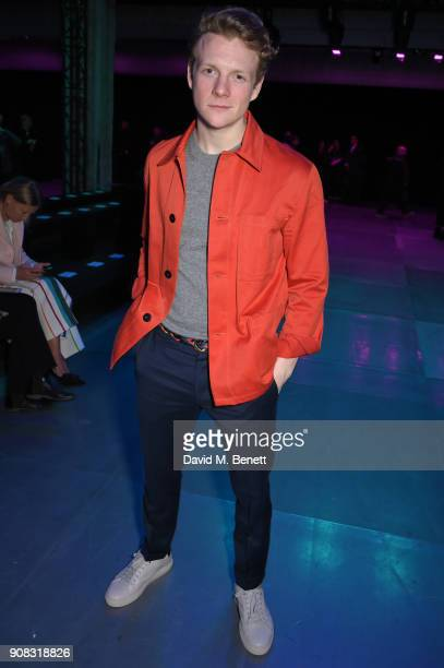 Patrick Gibson wearing Paul Smith attends the Paul Smith AW18 Men's and Women's Show on January 21 2018 in Paris France