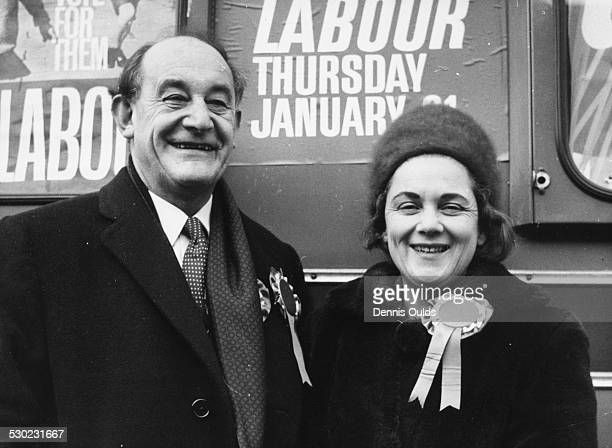 Patrick Gordon Walker Labour Party candidate and former Foreign Secretary with his wife as they begin his byelection campaign in Leyton London...