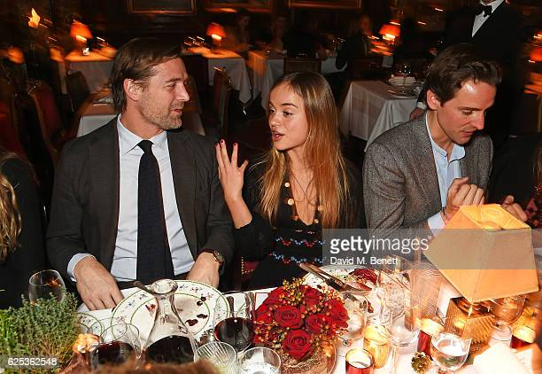 Patrick Grant Lady Amelia Windsor and Alexander Gilkes attend the Alexander Gilkes and Annabel's Thanksgiving Dinner at Annabel's on November 23 2016...