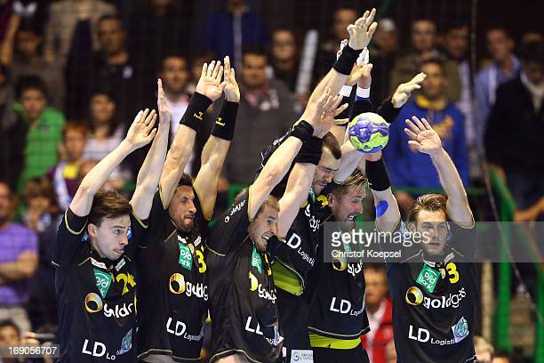 Patrick Groetzki Alexander Petersson Gedeon Guardiola Oliver Roggisch and Uwe Gensheimer of RheinNeckar Loewen defend against during the EHF Cup...