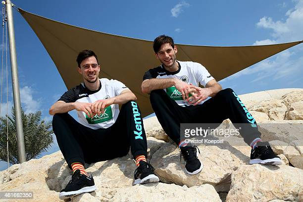 Patrick Groetzki and Uwe Gensheimer of Germany pose after the German Press Conference during the 24th Men's Handball World Championship at Hilton...