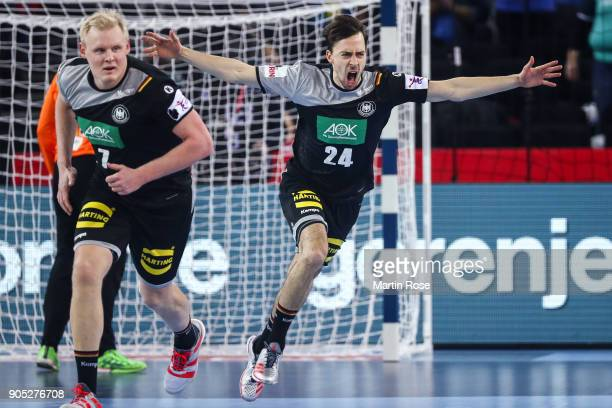 Patrick Groetzki of Germany celebrates during the Men's Handball European Championship Group C match between Slovenia and Germany at Arena Zagreb on...