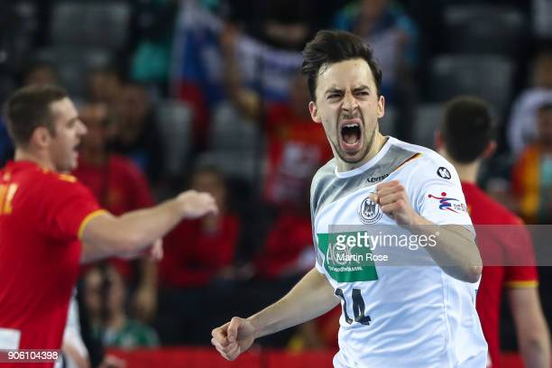 Patrick Groetzki of Germany celebrates during the Men's Handball European Championship Group C match between Germany and FYR Macedonia at Arena...