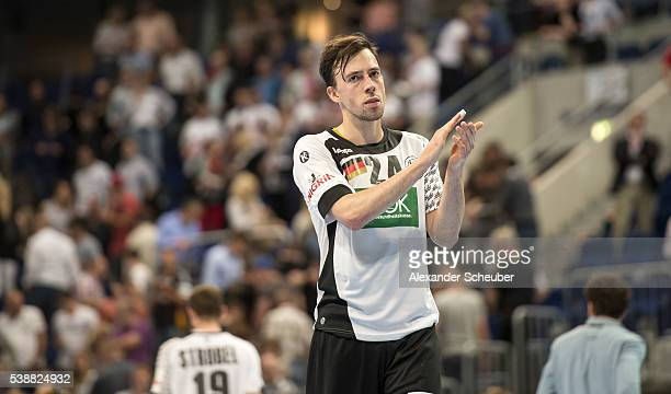 Patrick Groetzki of Germany thanks the fans after the International Handball Friendly between Germany and Russia at SAP Arena on June 8 2016 in...