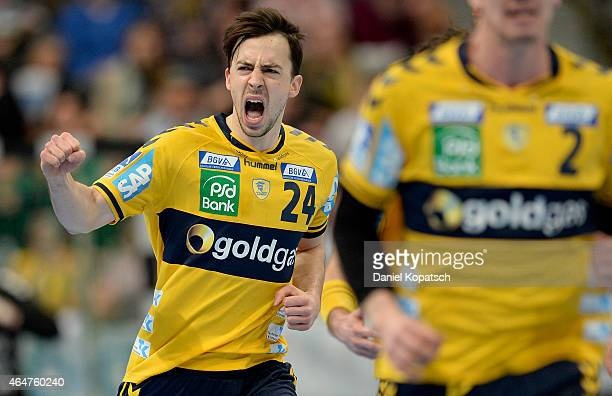 Patrick Groetzki of RheinNeckar Loewen celebrates during the DKB HBL Bundesliga match between RheinNeckar Loewen and SG FlensburgHandewitt at SAP...