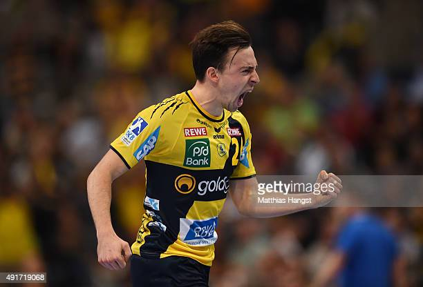 Patrick Groetzki of RheinNeckar Loewen celebrates during the DKB HBL Bundesliga match between Rhein Neckar Loewen and THW Kiel at SAP Arena on...