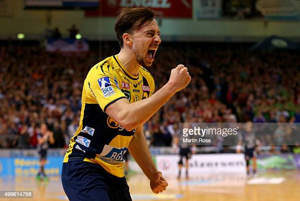 Patrick Groetzki of RheinNeckar Loewen celebrates during the DKB HBL Bundesliga match between SG FelnsburgHandewitt and RheinNeckar Loewen at...