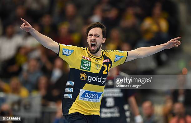 Patrick Groetzki of RheinNeckar Loewen celebrates during the DKB HBL Bundesliga match between RheinNeckar Loewen and SG Flensburg Handewitt at SAP...