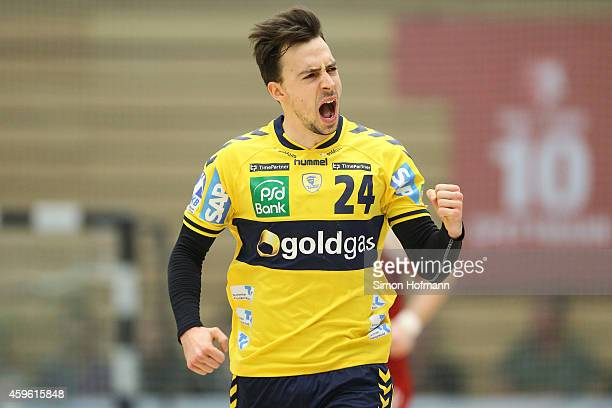 Patrick Groetzki of RheinNeckar Loewen celebrates during the DKB Handball Bundesliga match between TSG LudwigshafenFriesenheim and RheinNeckar Loewen...