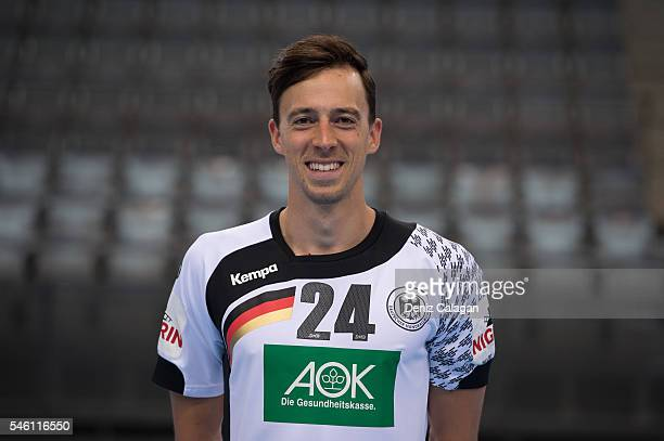 Patrick Groetzki poses during the Team Presentation of the German Handball National Team on July 11 2016 in Stuttgart Germany