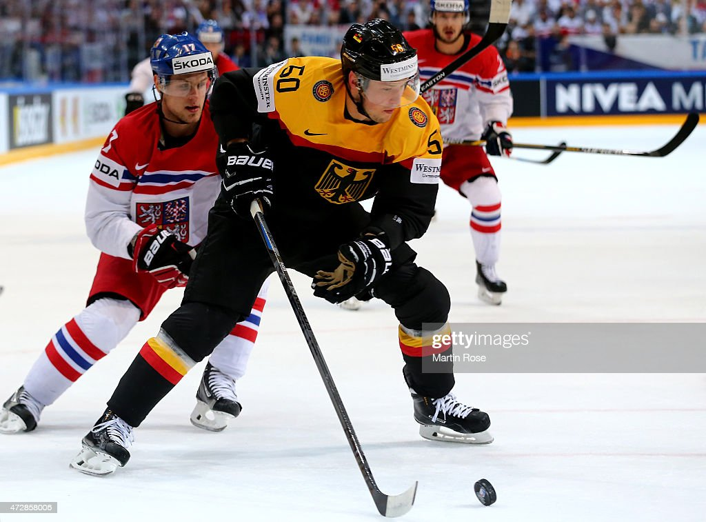 Patrick Hager (L) of Germany and Vladimir Sobotka (R) of Czech Republic battle for the puck during the IIHF World Championship group A match between Germany and Czech Repubic at o2 Arena on May 10, 2015 in Prague, Czech Republic.