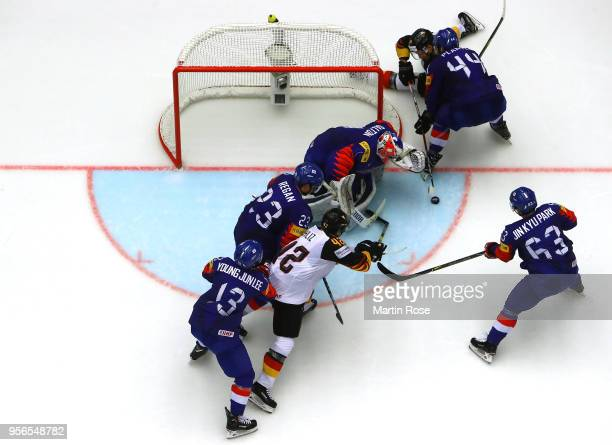 Patrick Hager of Germany fails to score over Matt Dalton. Goaltender of Korea during the 2018 IIHF Ice Hockey World Championship group stage game...