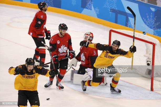 Patrick Hager of Germany reacts after scoring a goal against Canada in the second period during the Men's Playoffs Semifinals on day fourteen of the...