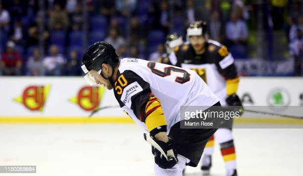 Patrick Hager of Germany reacts during the 2019 IIHF Ice Hockey World Championship Slovakia group A game between Canada and Germany at Steel Arena on...