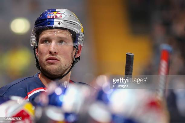 Patrick Hager of Red Bull Muenchen looks on during the German Ice Hockey match between EHC Red Bull Muenchen and Koelner Haie on September 30, 2018...