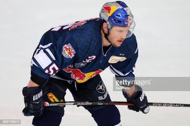 Patrick Hager of Red Bull Munich during the DEL Playoff Quarterfinal match 3 between the EHC Red Bull Munich and Pinguins Bremerhaven on March 18th...