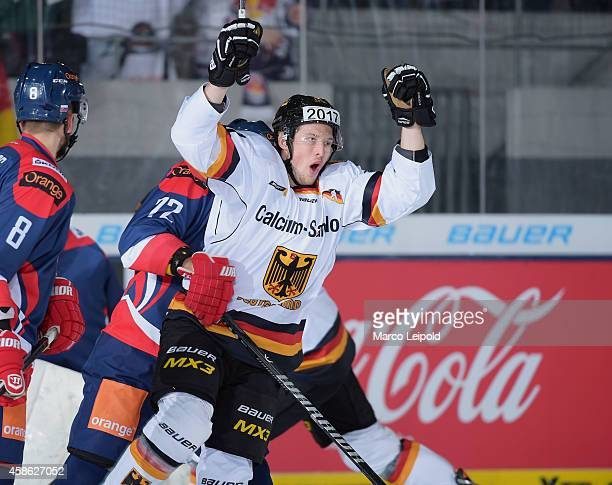 Patrick Hager of Team Germany celebrates during the game between Germany and Slovakia on November 8, 2014 in Munich, Germany.