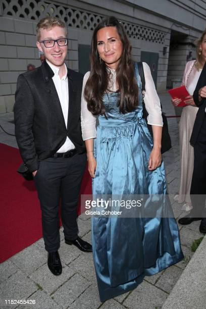 Patrick Hahn and Susanne Bernhard during the opening of the Munich Opera Festival 2019 reception at Schmuckhof on June 27 2019 in Munich Germany