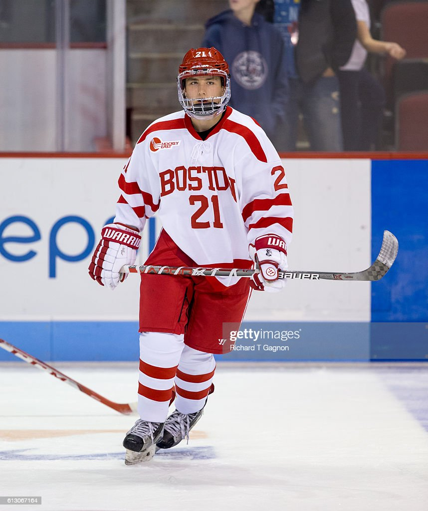 Patrick Harper #21 of the Boston University Terriers skates before an NCAA exhibition hockey game against the U.S. National Under-18 Team at Agganis Arena on October 6, 2016 in Boston, Massachusetts. The Terriers won 8-2.
