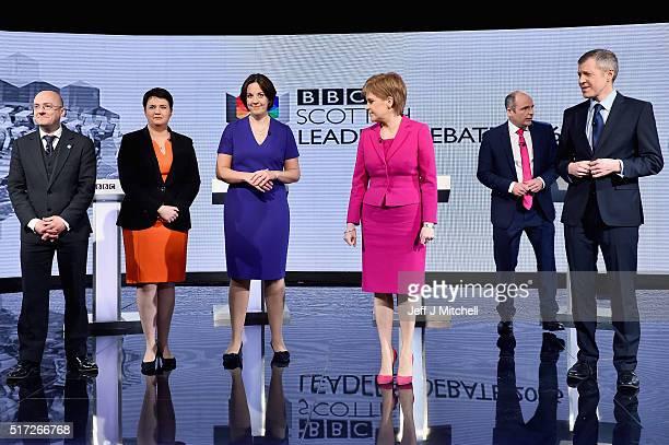 Patrick Harvie of the Scottish Greens Ruth Davidson of the Scottish Conservatives Scottish Labour's Kezia Dugdale SNP leader Nicola Sturgeon...