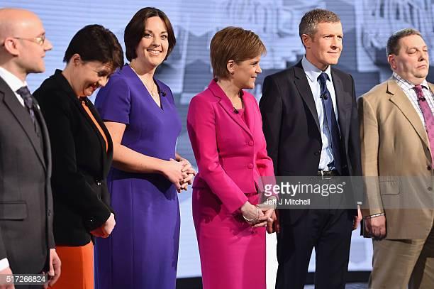 Patrick Harvie of the Scottish Greens Ruth Davidson of the Scottish Conservatives Scottish Labour's Kezia Dugdale SNP leader Nicola Sturgeon Lib Dem...