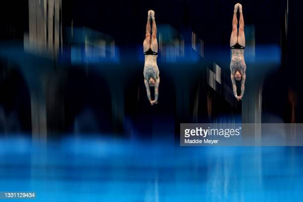 Patrick Hausding and Lars Rudiger of Germany compete during the Men's Synchronised 3m Springboard final on day five of the Tokyo 2020 Olympic Games...