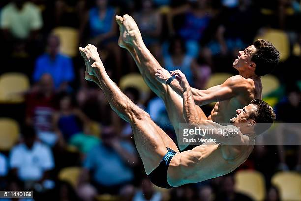 Patrick Hausding and Sascha Klein of Germany compete in the men's 10m synchro platform Preliminary during the 2016 FINA Diving World Cup at Maria...