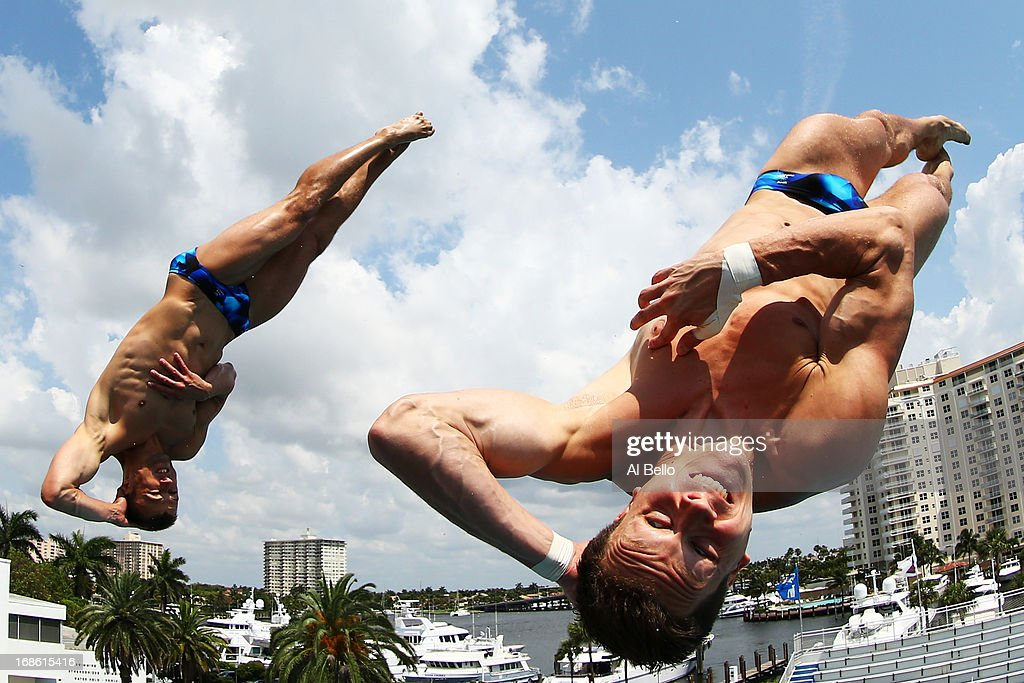 Patrick Hausding and Sascha Klein of Germany dive during the Men's 10 Meter Platform Synchronized Finals at the Fort Lauderdale Aquatic Center on Day 4 of the AT&T USA Diving Grand Prix on May 12, 2013 in Fort Lauderdale, Florida.