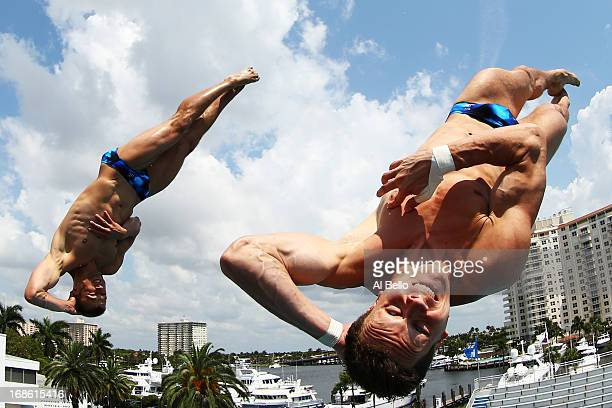 Patrick Hausding and Sascha Klein of Germany dive during the Men's 10 Meter Platform Synchronized Finals at the Fort Lauderdale Aquatic Center on Day...