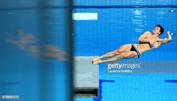 Patrick Hausding of Germany competes during the Men's 3m Springboard Preliminary Round on day six of the Budapest 2017 FINA World Championships on...