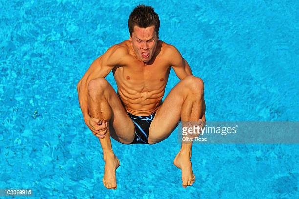Patrick Hausding of Germany competes in the Men's 3m Springboard during the European Swimming Championships at the Hajos Alfred Swimming complex on...