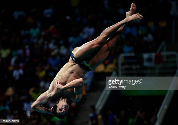 Patrick Hausding of Germany competes in the Men's Diving 3m Springboard semi final at the Maria Lenk Aquatics Centre on August 16 2016 in Rio de...
