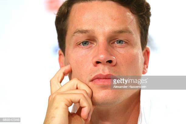 Patrick Hausding of Germany's Olympic Diving team looks on during a press conference at the 'Deutsche Haus Rio 2016' ahead of the Rio 2016 Olympic...
