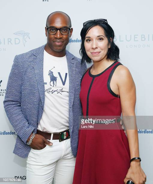 Patrick Hazlewood and Jessica Juliao attend the Bluebird London New York City launch party at Bluebird London on September 5 2018 in New York City