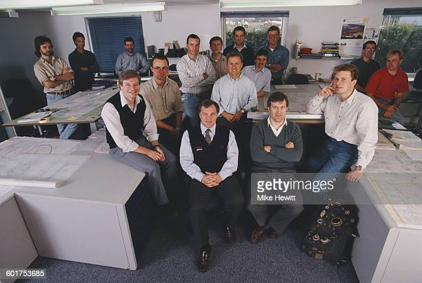 Patrick Head technical director at Williams Grand Prix Engineering with the design staff on 22 February 1999 at the Grove Wantage Great Britain