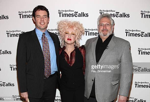 Patrick Healy Cyndi Lauper and Harvey Fierstein attend TimesTalks presents Kinky Boots at TheTimesCenter on March 18 2013 in New York City