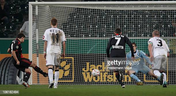 Patrick Helmes of Leverkusen misses a penalty during the DFB Cup match between Borussia M'gladbach and Bayer Leverkusen at Borussia Park on October...