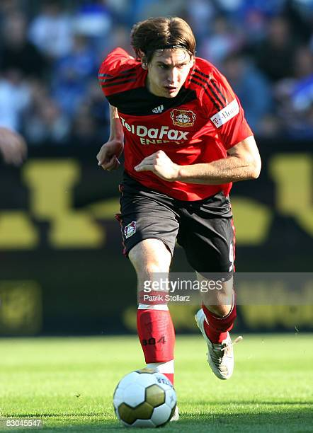 Patrick Helmes of Leverkusen runs with the ball during the Bundesliga match between VfL Bochum and Bayer Leverkusen at the rewirpower stadium on...