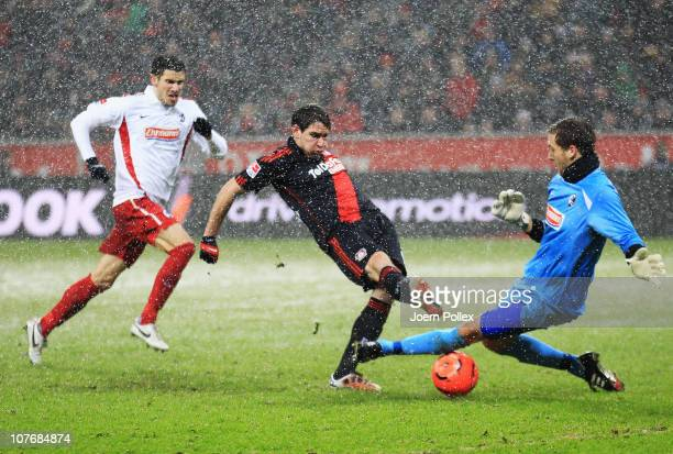 Patrick Helmes of Leverkusen scores his team's second goal during the Bundesliga match between Bayer Leverkusen and SC Freiburg at BayArena on...