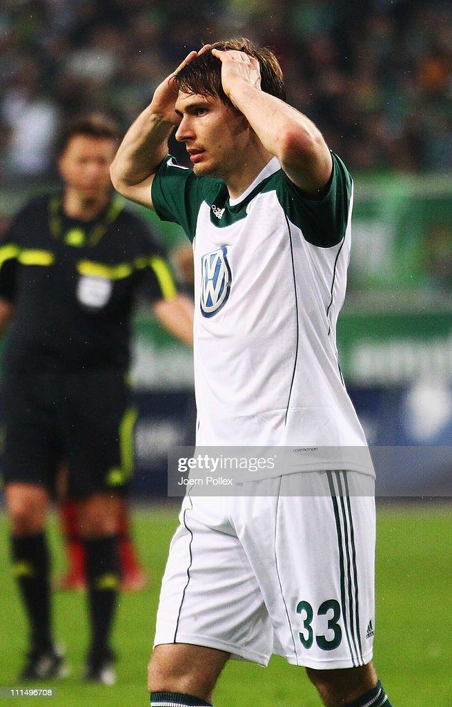 Patrick Helmes of Wolfsburg gestures during the Bundesliga match between VfL Wolfsburg and Eintracht Frankfurt at Volkswagen Arena on April 3, 2011 in Wolfsburg, Germany.